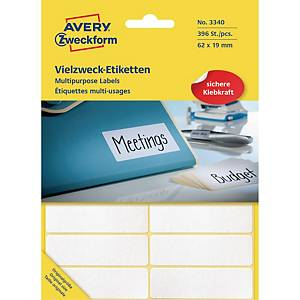 PK392 AVERY M/PURPOSE LABEL 62X19MM WH