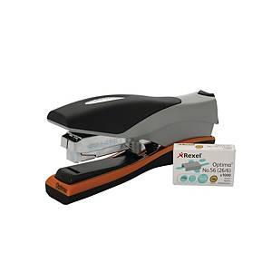 Rexel Optima 40 Low Force Heavy Duty 40 Sheet Flat Clinch Stapler Silv/Blk/Org