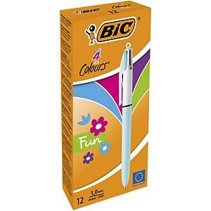 Bic 4 Colour Fashion Retractable Ball Pen - Box of 12