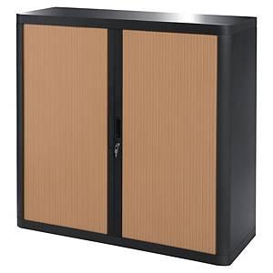 Armoire à rideaux Paperflow Easy Office - 104 x 110 cm - noir/hêtre