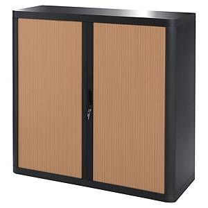 PAPERFLOW EASYOFFICE TAMBOUR CUPBOARD 1045 X 1100 X 415MM BLACK/BEECH