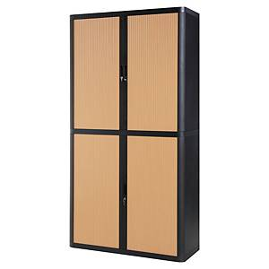Paperflow EasyOffice Tambour Cupboard 2043 X 1100 X 415mm Black/Beech