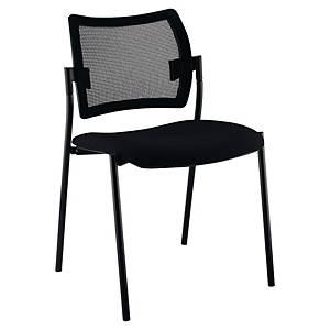 Chaise visiteur Sokoa Nancy - empilable - résille et tissu - noire