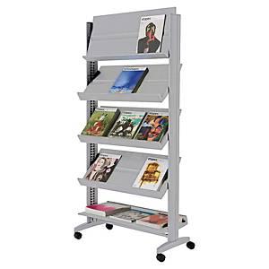 Présentoir mobile Paperflow Universel - large - 5 tablettes orientables - gris