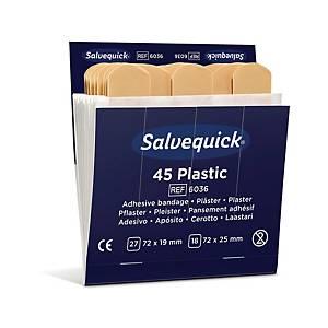 Plaster Salvequick vandafvisende 6036, plast, æske a 6 sæt