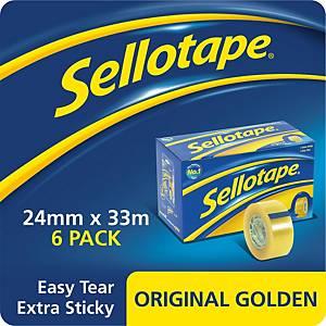 Sellotape Golden Tape 24mmx33M - Pack of 6