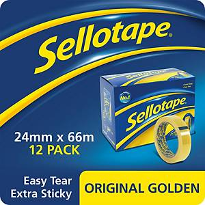 Sellotape Golden Tape 24mmx66M Clear - Pack of 12