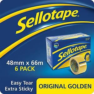 Sellotape Original Golden Tape 48mm X 66M -Pack of 6