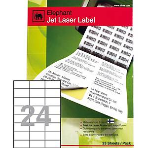 ELEPHANT 16-030 Jet Laser Label 70mm X 36mm 24 Labels/Sheet - Box of 500