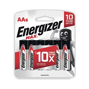 ENERGIZER Max E91 Alkaline Batteries AA Pack Of 6