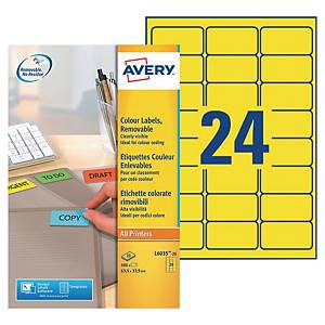 Etiquette enlevable Avery - L6035-20 - 63,5 x 33,9 mm - jaune - par 480