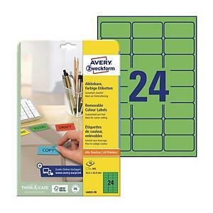 Etykiety kolorowe AVERY ZWECKFORM 63,5x33,9 mm, zielone, usuwalne, 480 etykiet