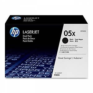 Cartouches toner HP CE505XD, noires, haute capacité, le paquet de 2 x CE505X
