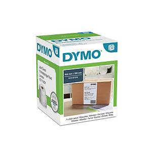 Dymo LW Extra Large Shipping Labels, 104mm X 159mm, Roll of 220, Black On White