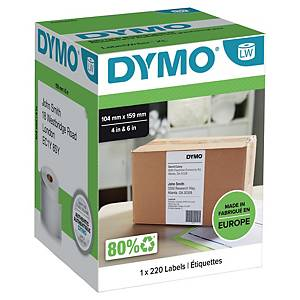 Rolo de 220 etiquetas autocolantes Dymo LabelWriter - 104 x 159 mm - branco
