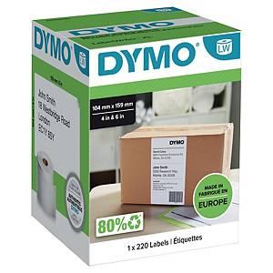 Adressetiketter Dymo LabelWriter, 104 x 159 mm, rulle med 220 etiketter