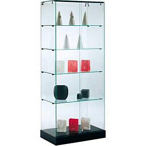 Glazen vitrinekast, 4 legbladen, H 185 x B 70 x D 40 cm