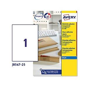/Etichette trasparenti per buste e pacchi Avery 210x297mm - conf. 5 da 25