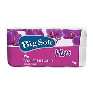 Toaletný papier Big Soft 8 plus konvenčná rola, biela, 2 vrstvy