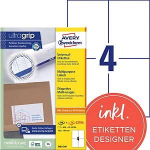 Etiketten Avery Zweckform ultragrip 3483, 105x148 mm, weiss, Pk. à 880 Stk.