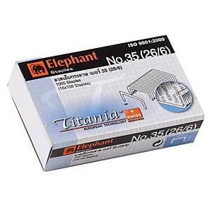 ตราช้าง ลวดเย็บกระดาษ ไททาเนีย 35-1M (26/6) 1000 ลวด/กล่อง