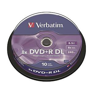 Verbatim DVD+R 8.5GB Double Layer 8x - Spindle Pack of 10
