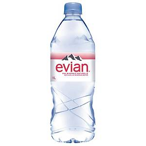 Evian mineral water bottle of 1l - pack of 6