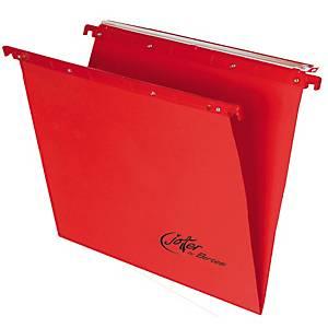 Cartelle sospese cassetto Bertesi fondo V interasse 390 rosso - conf. 10