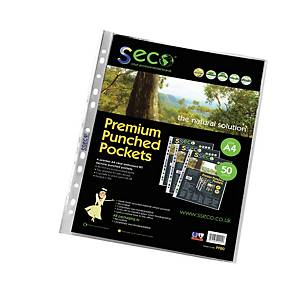 Seco Biodegradable A4 Punched Pockets 80 Micron - Pack of 50