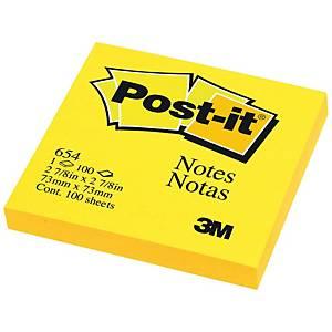 POST-IT กระดาษโน้ต 654 3 x3  สีเหลืองสะท้อนแสง