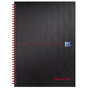 Oxford Blk n  Red A4 Matt H/Back Wirebound N/Bk Ruled 140 Page Black - Pack of 5