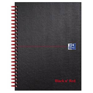 Oxford Black n  Red A5+ Matt Hardback Wirebound Notebook Ruled Margin 140pg Pk 5
