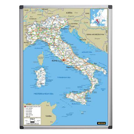 Cartina Italia Mappa.Cartina Italia Magnetica Con Fondo Scrivibile E Mappa Stradale 90 X 120 Cm