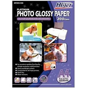 HI-JET กระดาษโฟโต้อิงค์เจ็ทแบบเนื้อมัน A4 200 แกรม 1 แพ็ค100 แผ่น