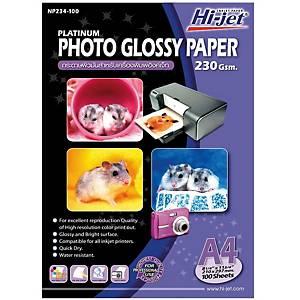 HI-JET กระดาษโฟโต้อิงค์เจ็ทแบบเนื้อมัน A4 230 แกรม 1 แพ็ค 100 แผ่น