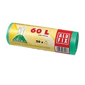 Alufix szemeteszsák, polietilén, zárószalaggal, zöld, 60 l