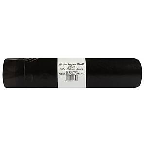 Vrecia Alufix na odpad HDPE polyetylén zaťahovacie, 120 l čierne