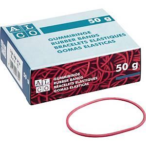 Gummibänder Alco 752, Durchmesser: 100mm, Maße: 150 x 4mm, rot, 50g