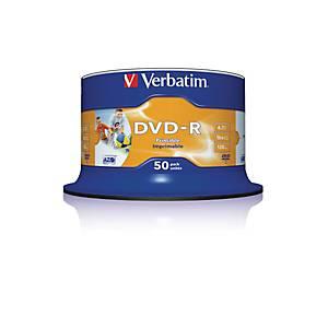 VERBATIM DVD-R Spindle 4.7GB 43533 1-16x fullprint o.L 50 Pcs
