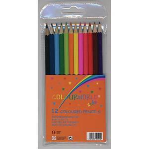 Farveblyanter Colourworld, ass. farver, pakke a 12 stk.