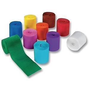 Papier crepon sur rouleau 5 cm x 10 m couleurs assorties - le paquet de 10