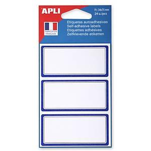 Etiquettes d école 75 x 34 mm blanc avec une bordure bleue - le paquet de 24