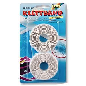 Velcro tape, B 20 mm x L 2 m, wit, pak van 2 zelfklevende klittenbanden