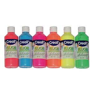 Creall peinture fluorescente 250 ml couleurs assorties - le paquet de 6