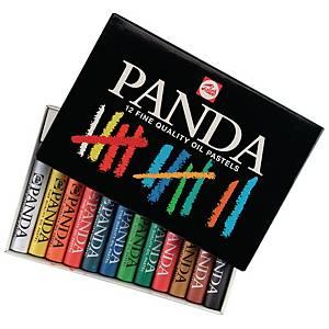Panda pastels à l huile couleurs assorties - la boîte de 12