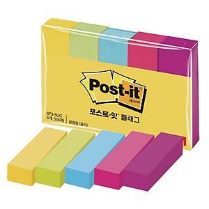 PKG5 3M POST-IT PG MARKERS .5X2   ASSTD