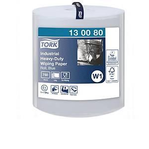 Aftørringsklud Tork W1, industri, ektra kraftig, blå, 750 ark