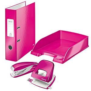 Leitz WOW pakket, nietmachine, perforator, ordner, brievenbak, roze