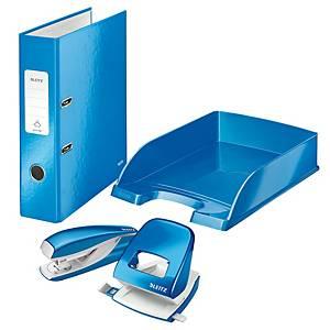 Leitz WOW pakket, nietmachine, perforator, ordner, brievenbak, blauw