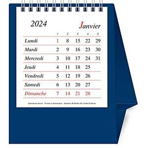 Tischplaner Novos, 1 Monat pro Seite, Kunststoff, französisch, blau
